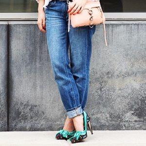 Lanvin x H&M green floral pumps size 38